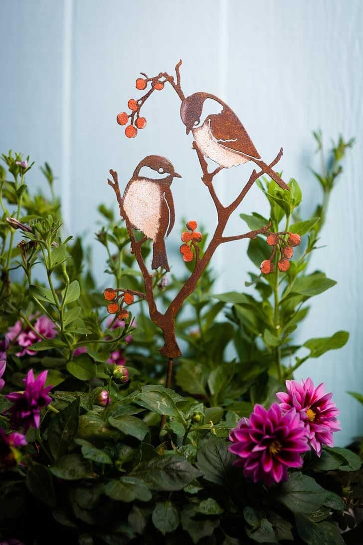 Chickadee garden art by rustybirdshop on etsy