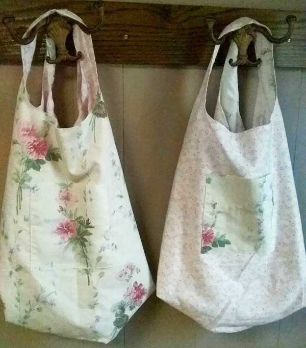 Cloth shopping bags made from upcycled fabric.