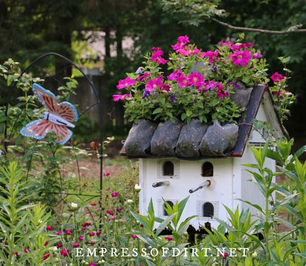 Big Bird House with Flower Roof