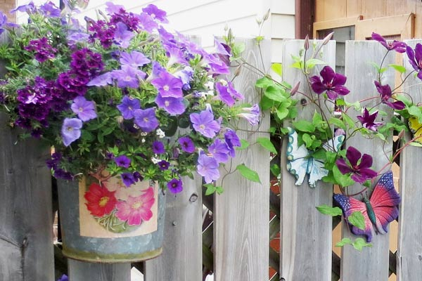 Bucket of Flowers on Fence