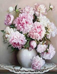 Paint by numbers peony kit