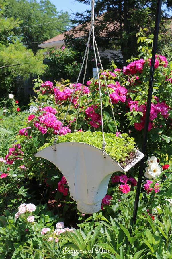 Painted Metal Junk Hanging Planter
