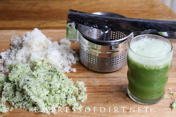 Use a potato ricer to remove water from cauliflower and zucchini.