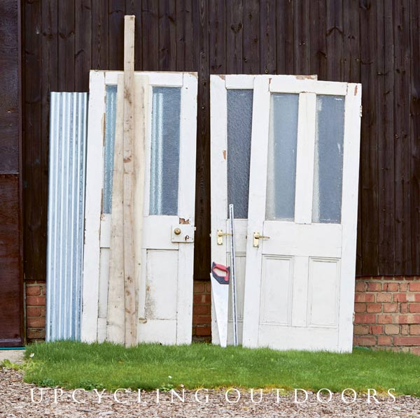 Doors ready to make a upcyled door potting shed.