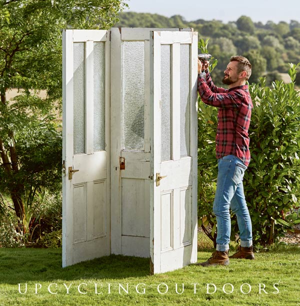 Attaching doors together for upcycled door potting shed project.