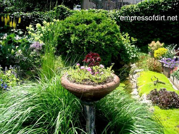 Hypertufa garden planter and tall grasses.