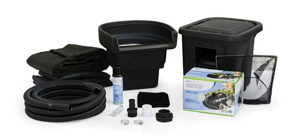 Aquascape pond kit for creating a backyard garden pond with a small waterfall.