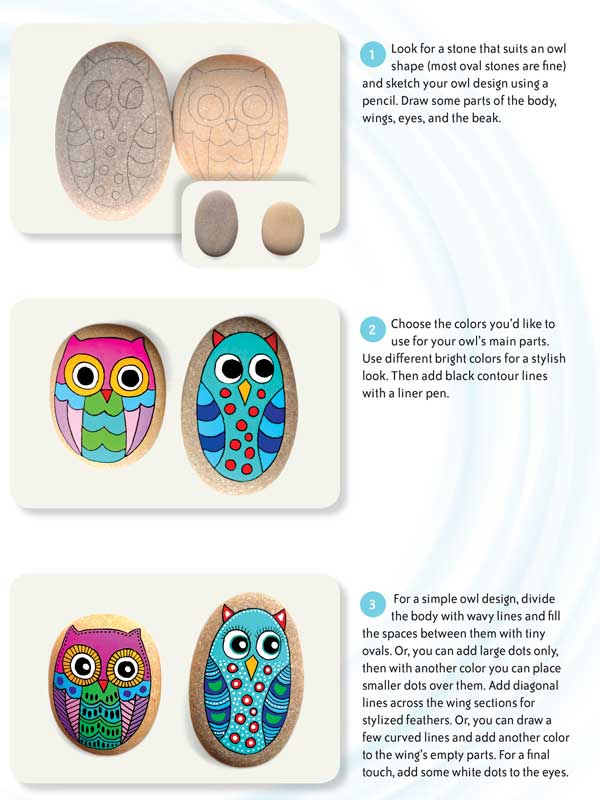 Painting owls on stones