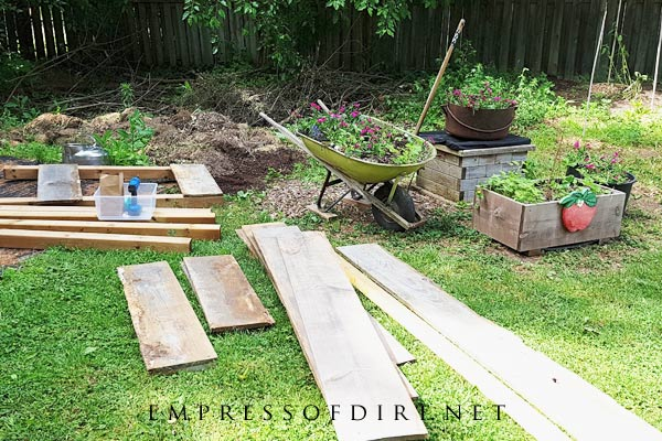 Scrap wood for building tree branch crib.