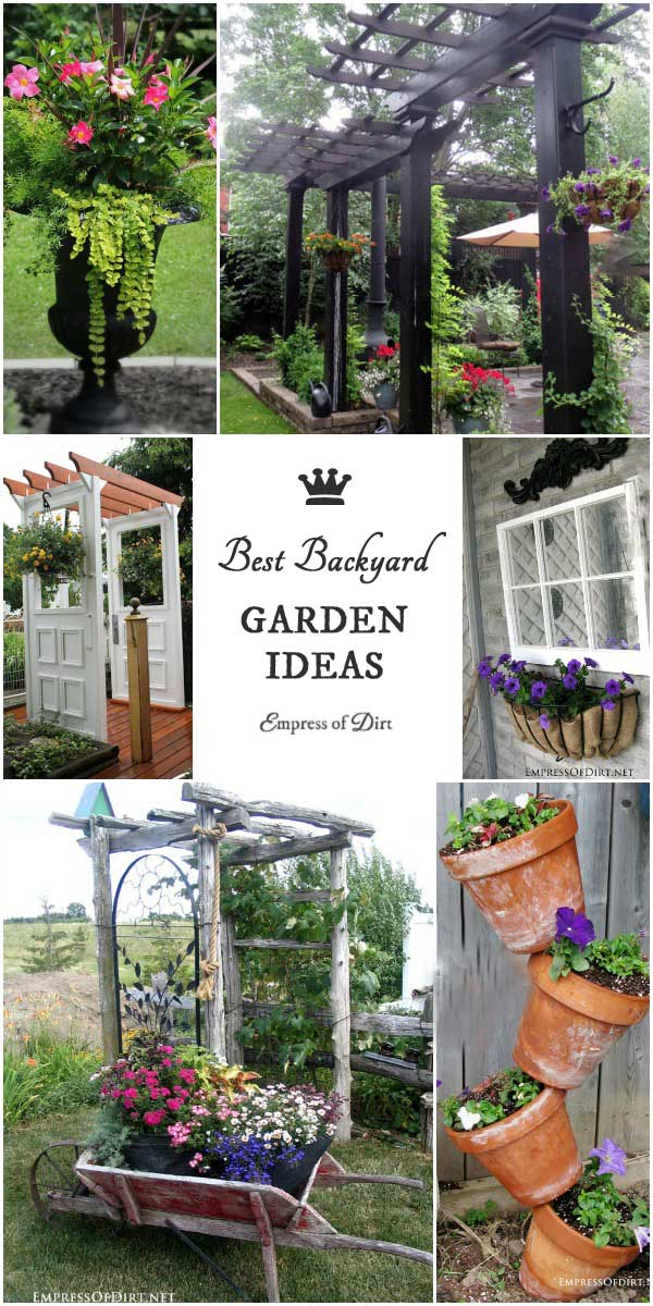 Sometimes all it takes is some visual inspiration to get creative in the garden. These ideas for DIY garden art, sheds, repurposed tool creatures, growing herbs, unusual containers, arbors, and upcycling old items into something new and useful should give your creativity a boost!