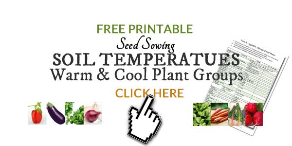 Free printable seed sowing soil temperatures chart for home gardeners