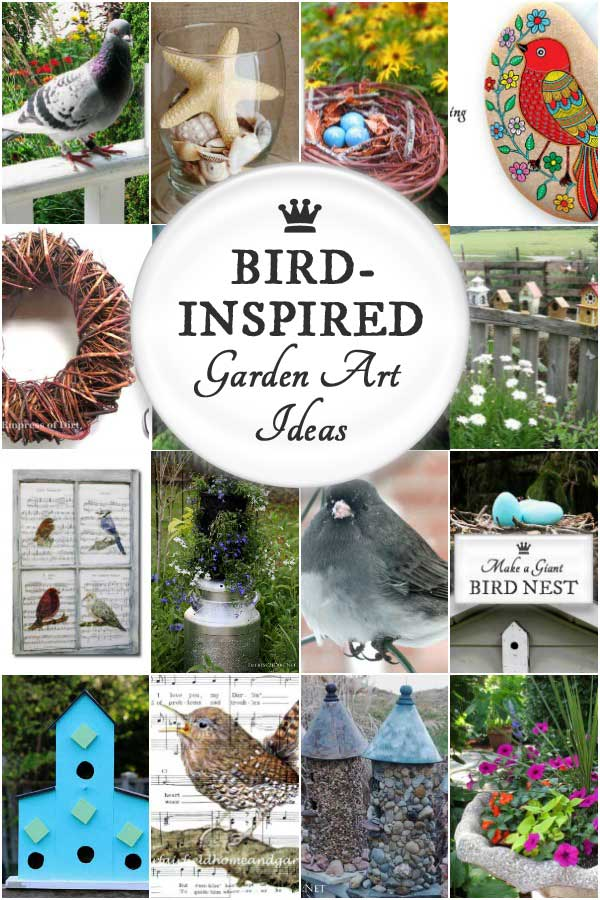 Love birds? Have a look at these garden art projects and ideas featuring DIY birdhouses, nests, feeders, bird baths, and art.