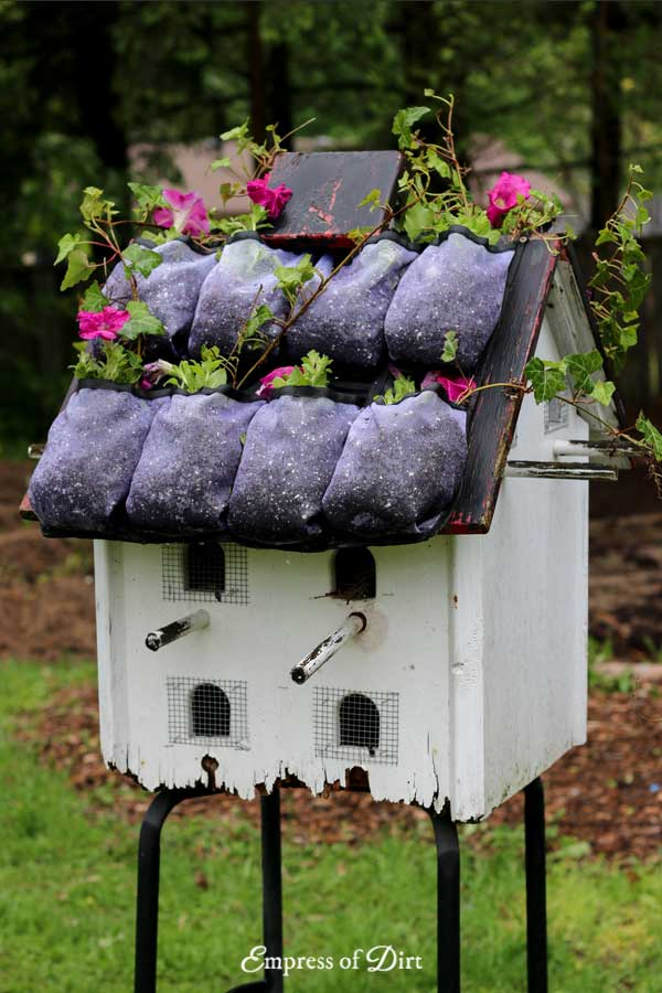 Create an instant green roof on a birdhouse
