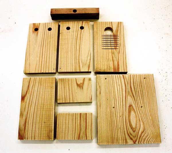 Wood cuts for bluebird nesting box.