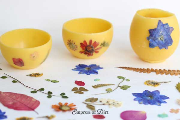 Make your own beeswax flower pots with pressed flowers