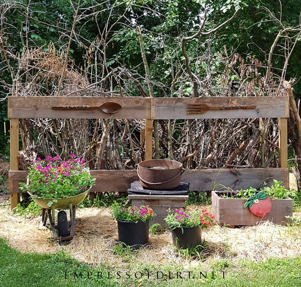 Make a tree branch crib for birds and pollinators.
