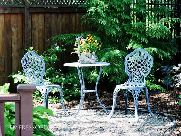 A shady corner of the garden can be the best place to sit and relax, out of the hot sun.