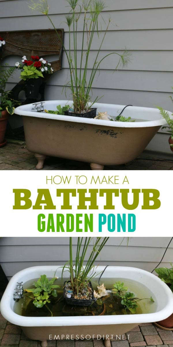 How to Make a Bathtub Garden Pond - Empress of Dirt