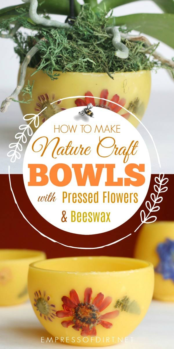 These homemade beeswax flower pots decorated with pressed flowers and leaves are perfect for smaller houseplants.
