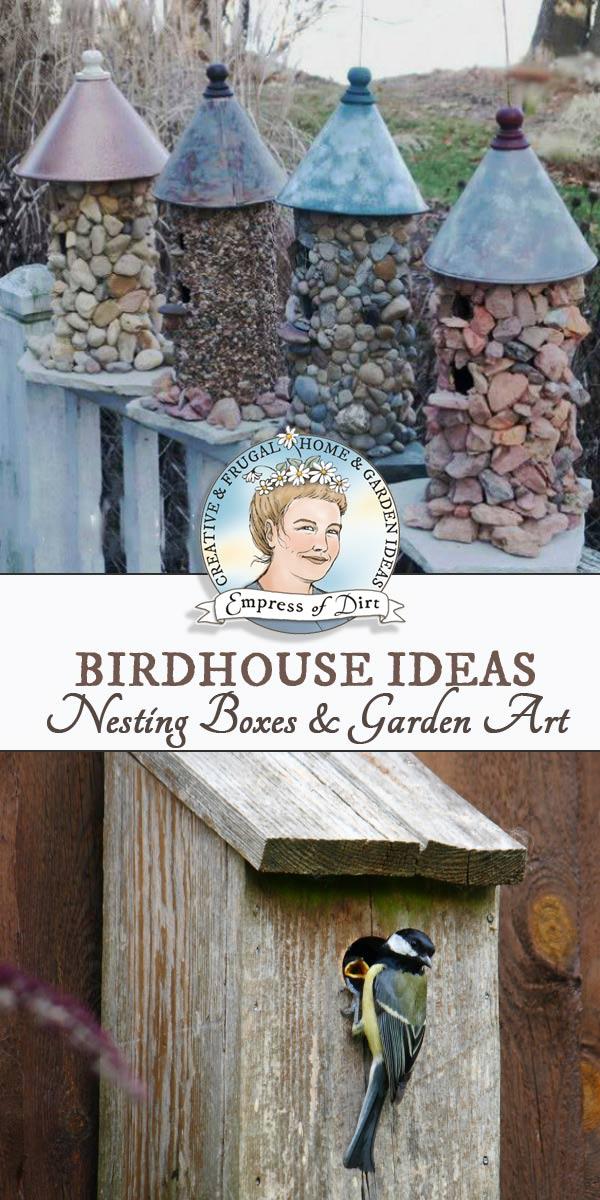 Creative birdhouse ideas for the garden including garden art ideas and nesting boxes for birds to raise their young.