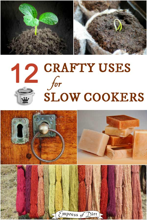 Creative non-food ways to make use of a slow cooker or crock pot including soap making, stripping paint, dyeing yarn, cleaning beeswax, making crayons and play dough and more.