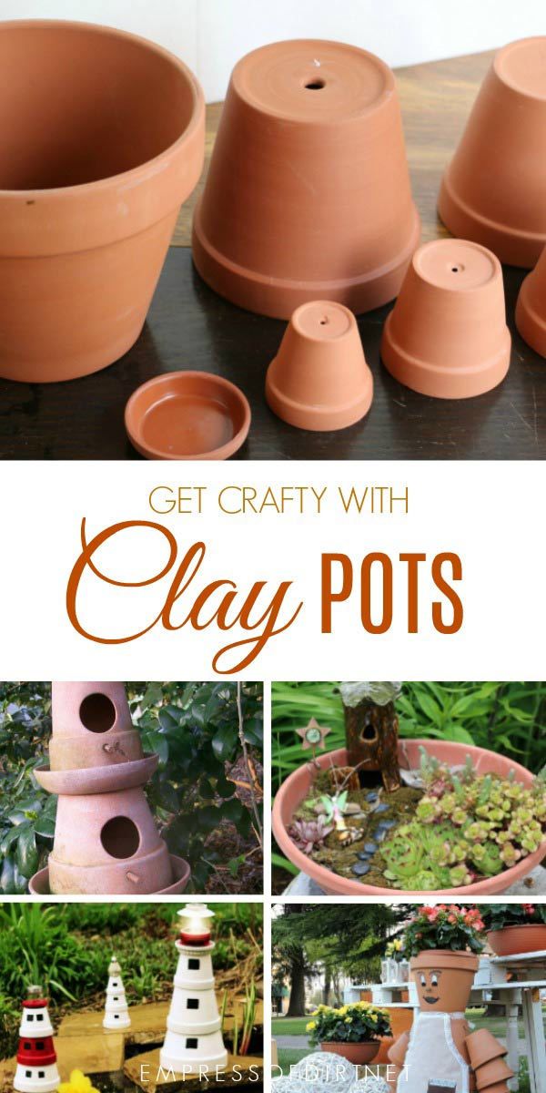 Craft and DIY projects made from terracotta clay garden pots
