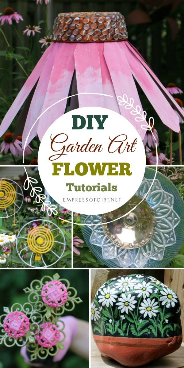 Love garden art flowers? Put your garden in constant bloom with these thrifty DIY tutorials for making decorative outdoor flowers.
