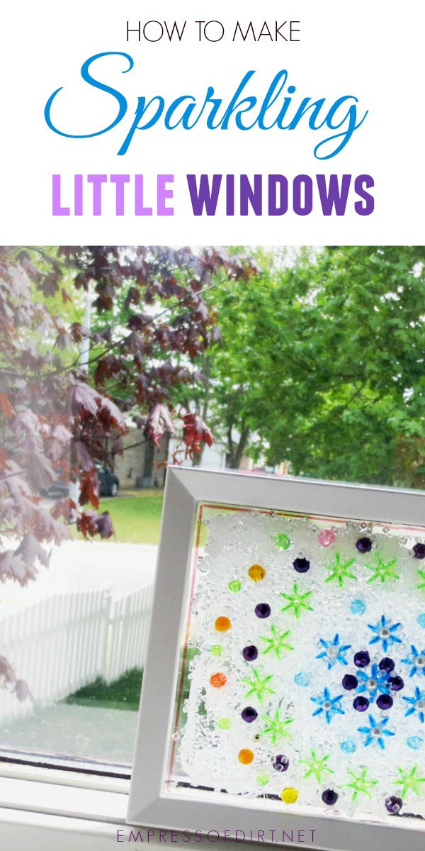 A simple craft project to make little sparkling windows. This is a frugal, easy version of homemade stained-glass windows.