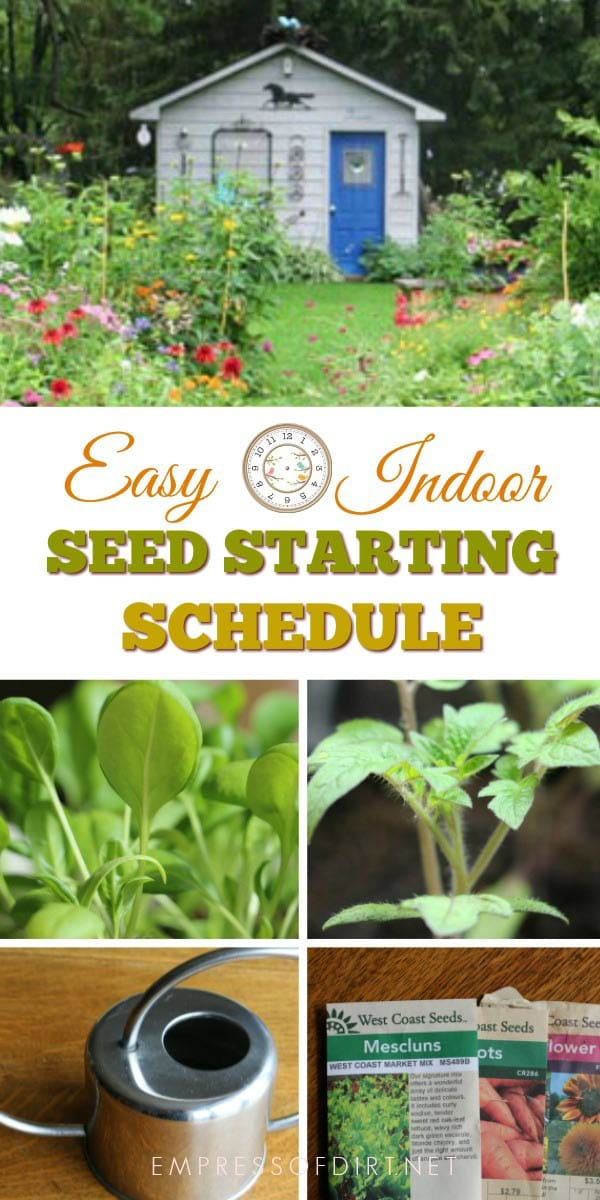 Simple schedule for starting seeds indoors.