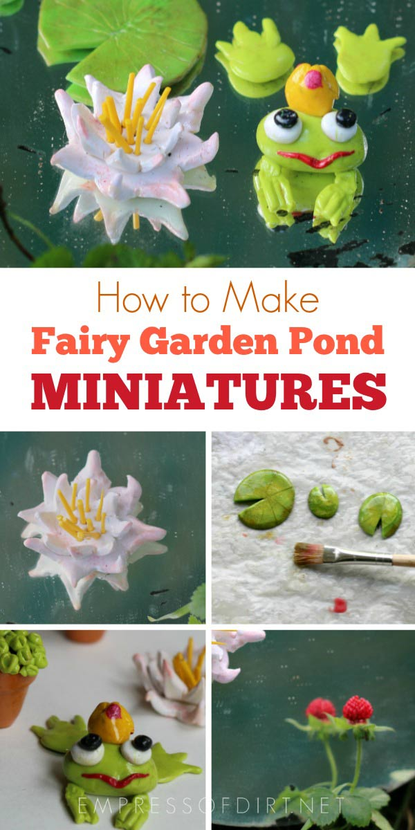 Make your own polymer clay charms for a miniature fairy garden pond.