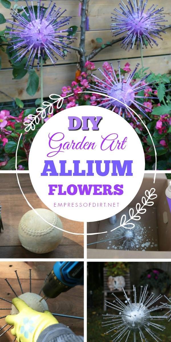 How to make garden art allium flowers from thrift shop finds.