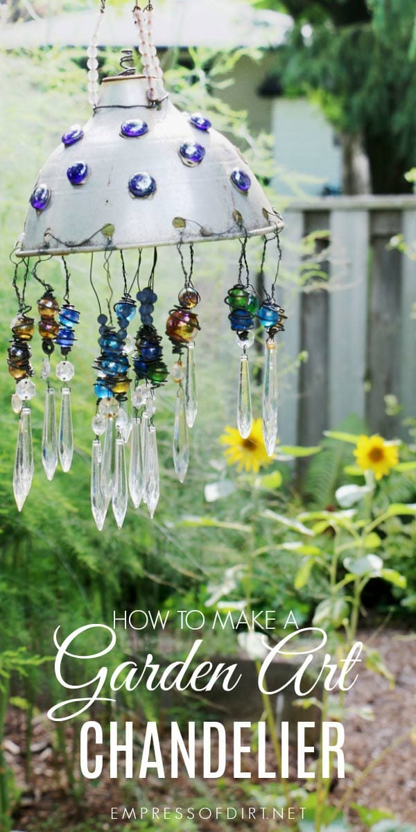 How to make a sparkling garden art chandelier empress of dirt make a garden art chandelier using some old household junk marbles and lamp crystals aloadofball Choice Image