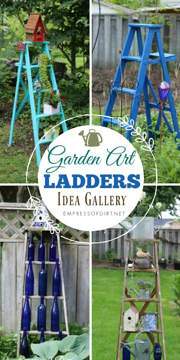 Ideas for using repurposed ladders in the garden.
