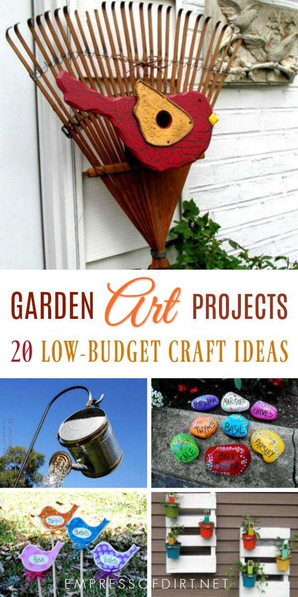Low-budget creative garden art projects.