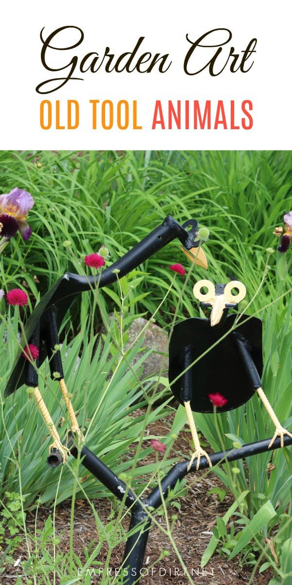 Wonderful garden art animals created from old tools.