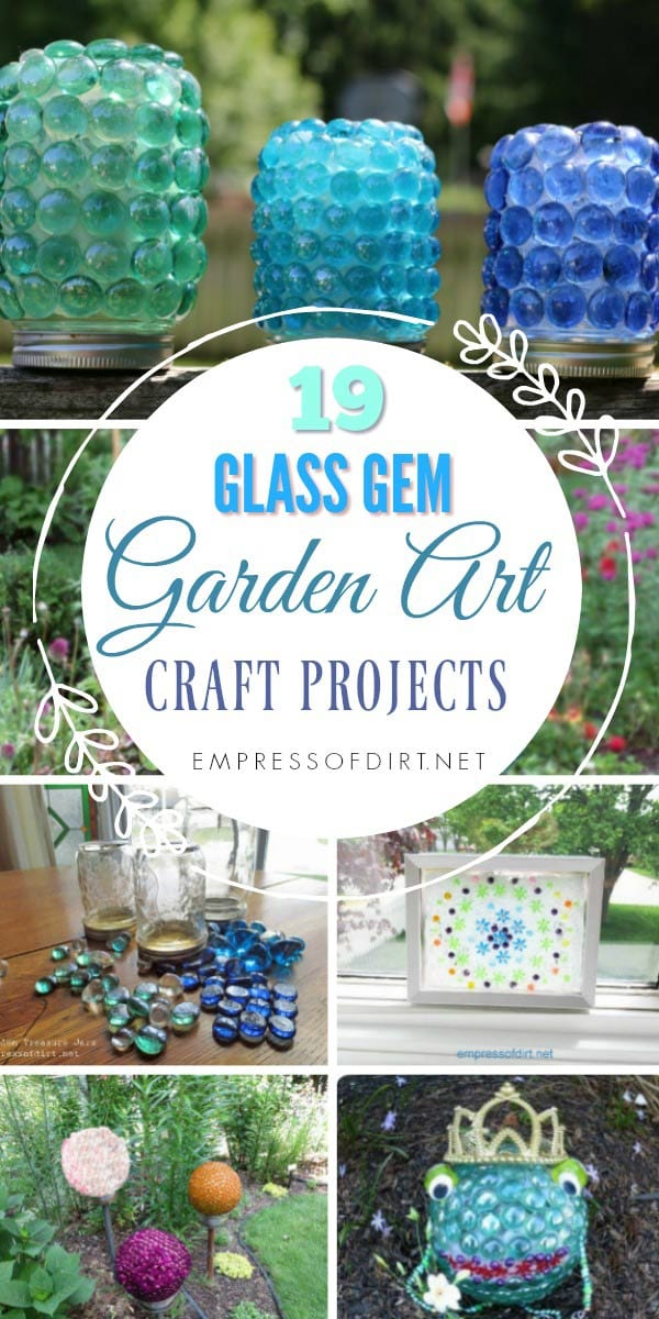 creative garden craft projects using glass garden gems from the dollar store