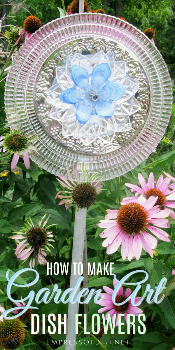 How to make garden art dish flowers using both drill and no-drill methods. Grab old plates, dishes, cutlery, and candy dishes and turn them into blooms for your garden.