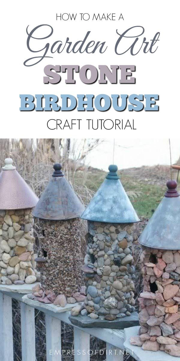 Make a gorgeous stone birdhouse with this simple garden art tutorial.