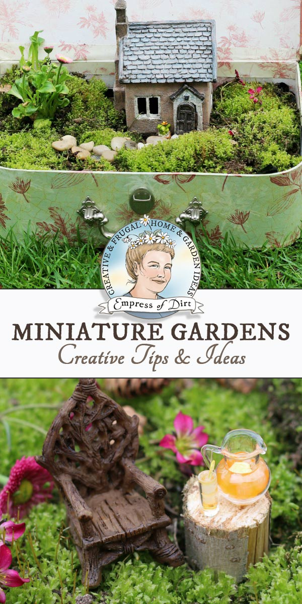 Miniature garden ideas including plant choices, accessories, themes, scale (good proportions), and projects. Also tips for fairy gardens.