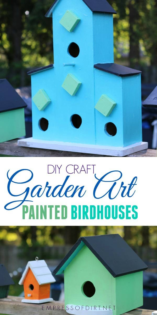 Transform plain birdhouses into colourful garden art with patio craft paints!