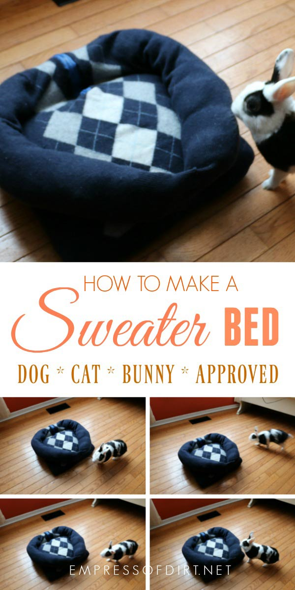 Make a cozy pet bed using a favorite old sweater. This project is easy-to-make and completely washable.