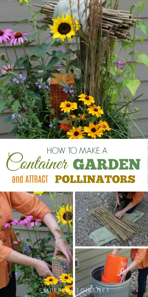 Pollinator garden in a classic trashcan from the book Container Gardening Complete by Jessica Walliser.