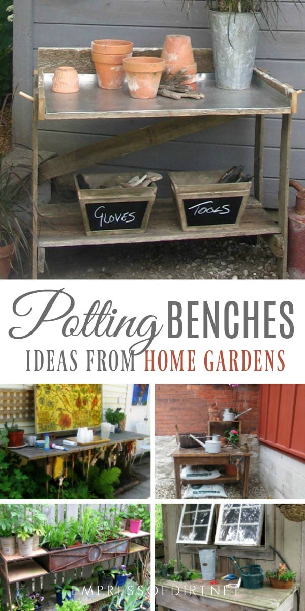 Potting bench idea gallery with examples from home gardens.