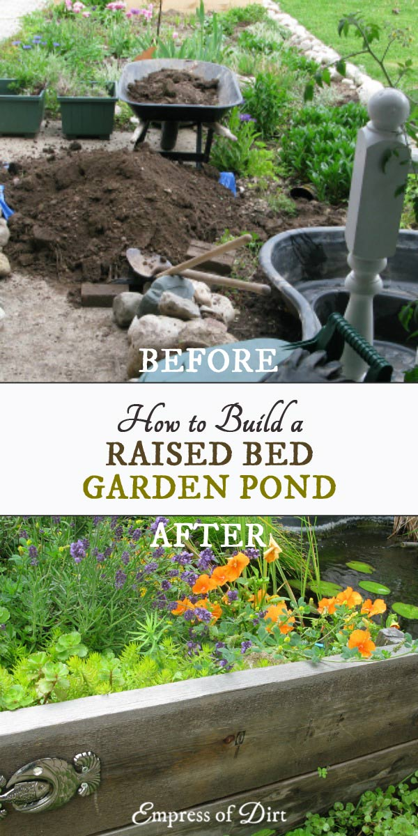 build a small pond in a raised garden bed