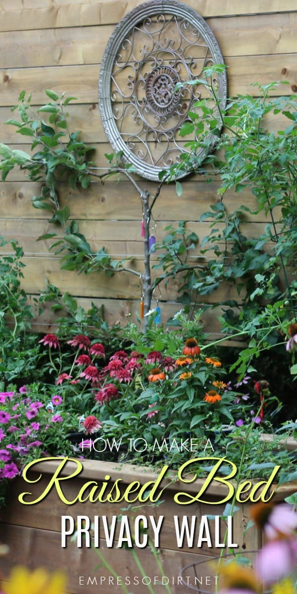 How to make a raised garden bed with built-in privacy wall.