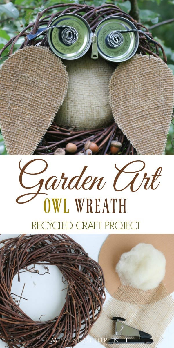 Create this sweet DIY owl wreath from household supplies including cardboard, burlap scraps, canning jar lids, zippers, and an old grapevine wreath. Visit Empress of Dirt for the free tutorial.
