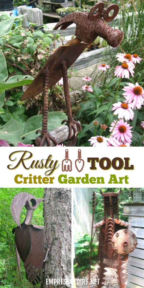 These old metal tools including hammers and machine pieces become wonderful garden art critters.