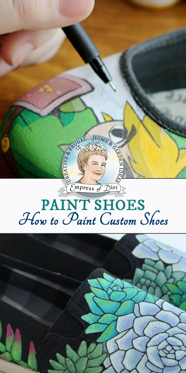 Shoe painting tips and instructions including best acrylic paints and art supplies to use.