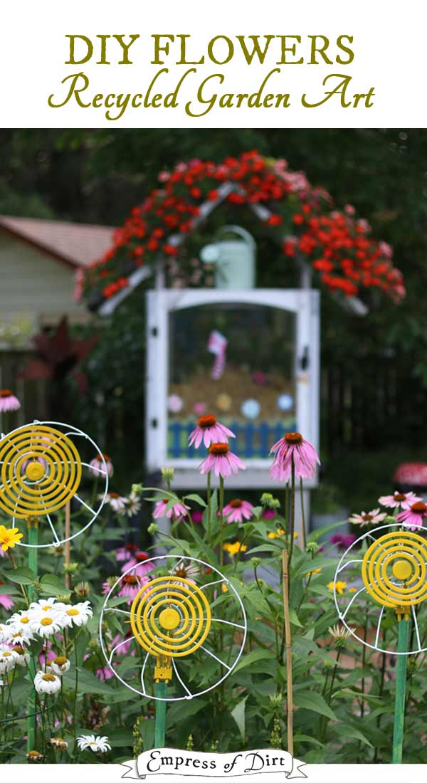 These easy garden art flowers are made from parts found at thrift shops and dollar stores.