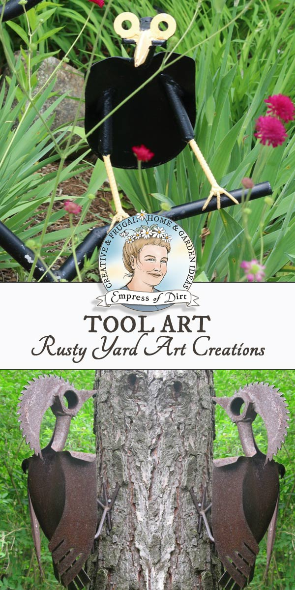 Have a look at these yard art tools, with creative uses for old shovels, clippers, rakes, and more. There's even a knight in rusting armor!